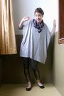 Gray-h-m-shirt-gold-leggings-black-target-shoes-blue-scarf