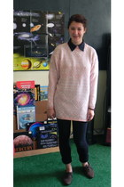 light pink sweater - dark brown shoes - navy blouse - black Judy Blue pants