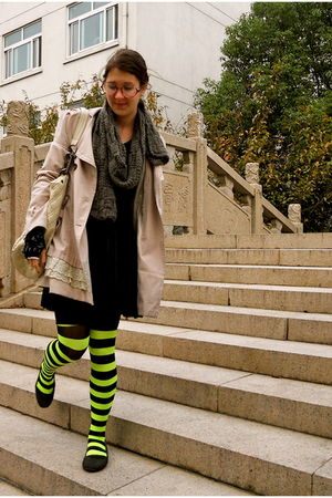 green tights - beige coat - gray scarf - black Target shoes