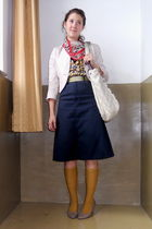 gold Target socks - blue Dickies skirt - gold Love Culture blouse - red scarf -