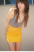 silver tank top American Apparel shirt - gold high waisted H&M skirt
