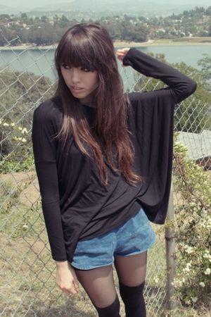 black LAMixx blouse - blue American Apparel shorts - black Forever 21 socks