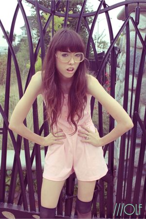 pink Hana intimate - black socks - white glasses - brown shoes
