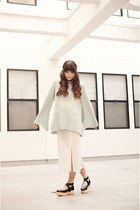light blue knit wildfox couture sweater - black dolly platforms Deandri shoes