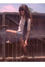 Blue-vest-white-blouse-blue-levis-shorts-black-tights-gray-who-we-see-sh