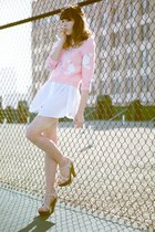 bubble gum white cats vintage sweater - white Esley dress
