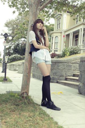 blue Forever 21 vest - white blouse - blue shorts - black Forever 21 socks - bla