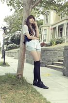 blue Forever 21 vest - white blouse - blue shorts - black Forever 21 socks - bla