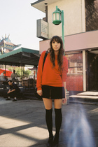 red American Apparel sweater - black Ralph Lauren skirt - black Wet Seal socks -