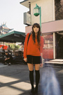 Red-american-apparel-sweater-black-ralph-lauren-skirt-black-wet-seal-socks-