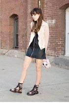 light pink chiffon everly jacket - black floral doc martens boots