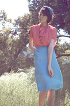 salmon vintage blouse - sky blue vintage skirt