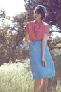 Salmon-vintage-blouse-sky-blue-vintage-skirt