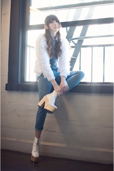 white fringe 6ks coat - sky blue denim 6ks jumper