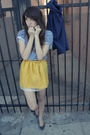 Gold-zzc-skirt-blue-american-apparel-t-shirt-blue-zzc-gray-shoes
