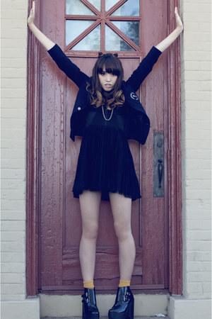 black vintage dress - navy vintage blazer - black Jeffery Campbell heels