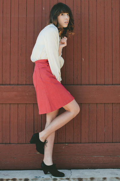 ivory Super Thrift blouse - red thrifted skirt - black seychelles heels