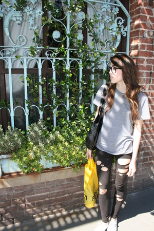 black glasses - gray American Apparel shirt - white Keds shoes - black Newport N