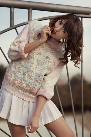 light pink knit vintage sweater - white pleated vintage skirt
