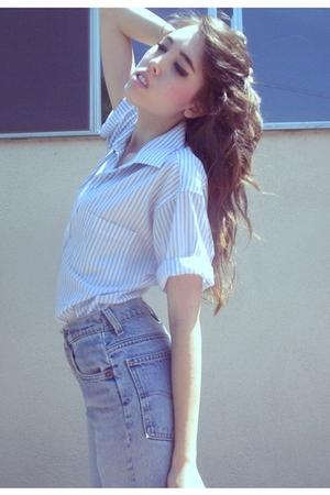 blue altered blouse - blue altered Levis jeans