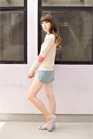 ivory alice moon sweater - periwinkle le bunny bleu flats