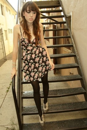 dress - black tights - who we see shoes