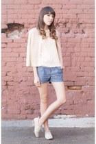 cream sheer Haley Bob blouse - ivory oxfords Lolashoetique shoes