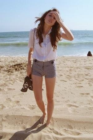white blouse - black Forever 21 shorts