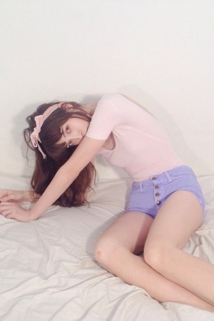 periwinkle denim American Apparel shorts - light pink bow socks Topshop socks