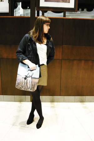 navy H&M jacket - photo Samo and Sato bag - dark khaki leather New Yorker skirt