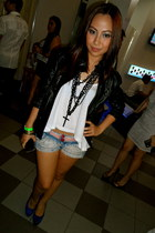 necklace - leather jacket - denim shorts - top - heels