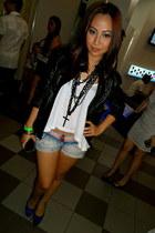 necklace - leather jacket - denim shorts - top - heels